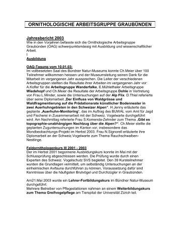 Jahresbericht 2003 - Bündner Naturmuseum - Kanton Graubünden