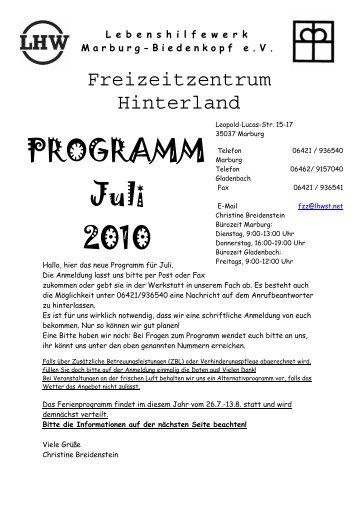PROGRAMM Juli 2010 - Lebenshilfewerk Marburg - Biedenkopf e.V.