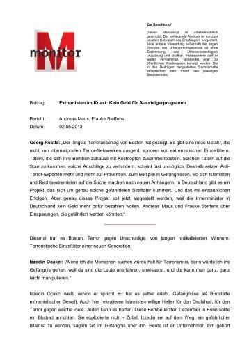 Beitrag: Extremisten im Knast: Kein Geld für ... - WDR.de