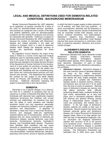 Legal and Medical Definitions Used for Dementia-Related ...