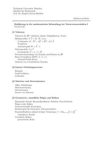 Inhaltsangabe und Literatur f. MBNW I & II (pdf) - Höhere Mathematik ...