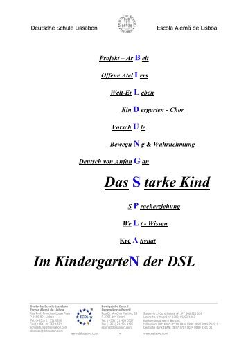 Zum Bildungsplan des Kindergartens - Deutsche Schule Lissabon