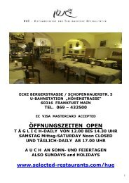 ÖFFNUNGSZEITEN OPEN - Selected Restaurants in Frankfurt