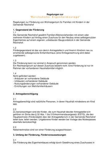 Regelungen Eigenheimzulage Word - Reichshof