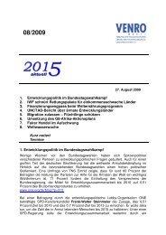 1. Entwicklungspolitik im Bundestagswahlkampf 2. IWF ... - Venro