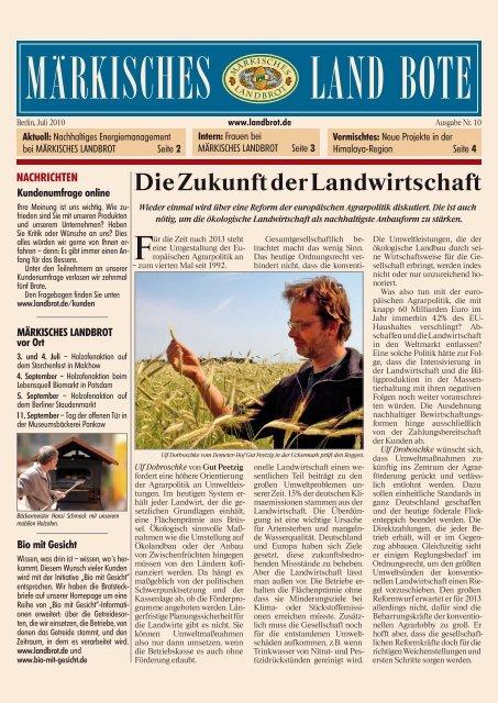 Ausgabe Nr. 10 - Juli 2010 - Märkisches Landbrot