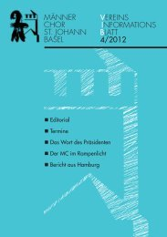 Ausgabe 4/2012 - Männerchor St. Johann Basel