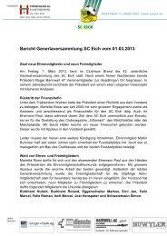 Bericht Generlaversammlung SC Eich vom 01.03.2013