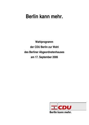 Wahlprogramm der CDU - Abgeordnetenwatch.de