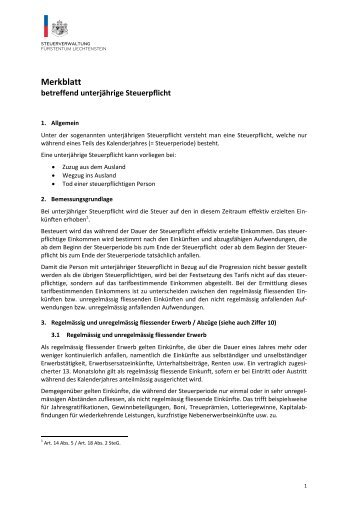Merkblatt betreffend unterjährige Steuerpflicht