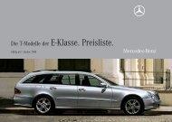 Preisliste Mercedes-Benz E-Klasse T-Modell / Kombi (S211) vom 01.01.2008.