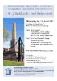 Aktionstag und Ausstellungseröffnung am 15. Juni 2013 ab 14:00 Uhr