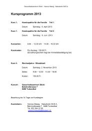 Kursprogramm 2013 - Gesundheitszentrum STICKI