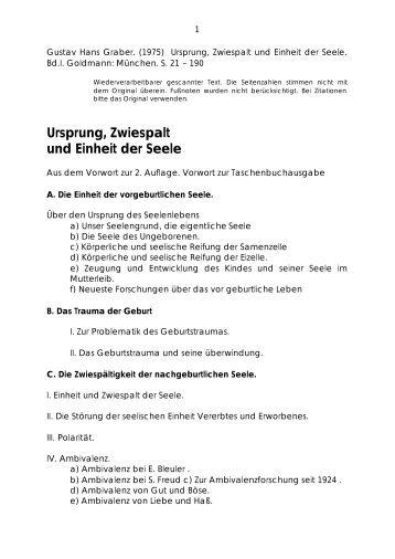 ursprung, zwiespalt und einheit der seele - Gustav Hans Graber ...