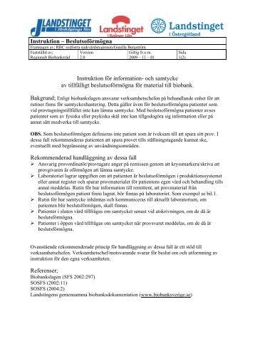 Instruktion – Beslutsoförmögna Instruktion för information- och ...
