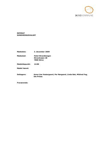 REFERAT SUNDHEDSUDVALGET Mødedato: 3 ... - Skive.dk