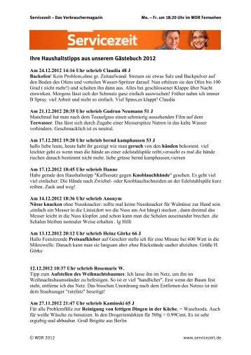 Ihre Haushaltstipps von 2012 als PDF - WDR.de