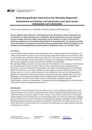 Stufenübergreifende Zusammenarbeit auf der Sek ... - Projekt Schul-In