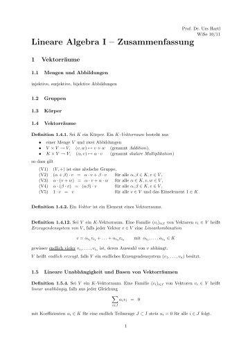 Lineare Algebra I – Zusammenfassung