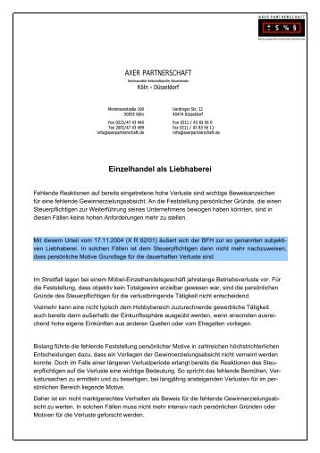 Liebhaberei - axis RECHTSANWÄLTE
