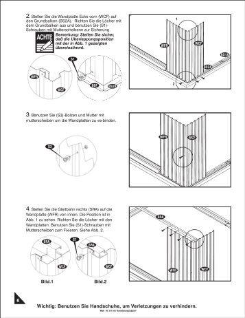2. Stellen Sie die Wandplatte Ecke vorn (WCF) auf ... - Bayer-Outdoor
