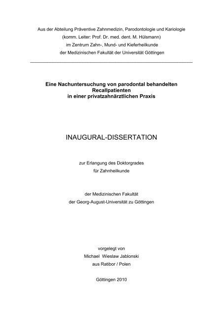 dissertation göttingen zahnmedizin