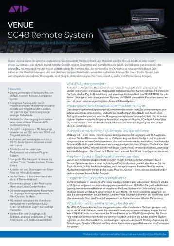 VENUE SC48 Remote-System - SEA Vertrieb & Consulting