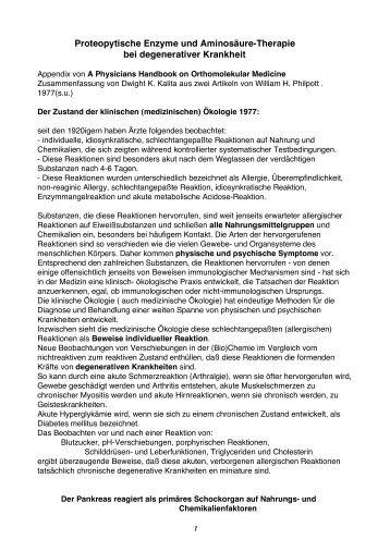 Proteopytische Enzyme und Aminosäure-Therapie bei ...