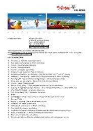 Further information: Information Bureau A-6580 St. Anton am Arlberg ...