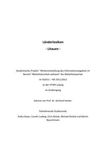 Länderlexikon - Litauen - - Bibliotheksportal