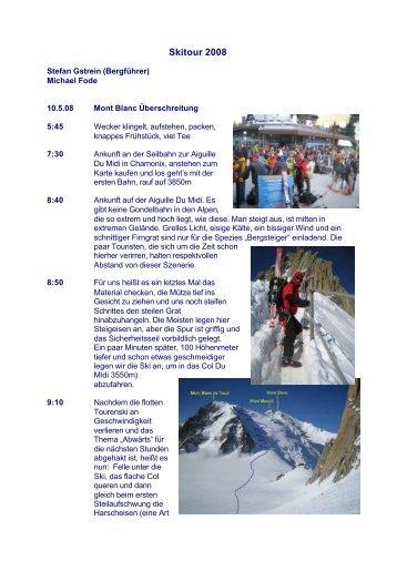Tour-Bericht der Mont Blanc Überschreitung 05/2008 - JEDER METER