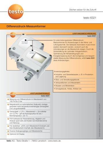 testo 6321 Differenzdruck-Messumformer - TestoSites