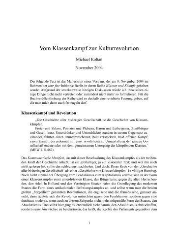 Vom Klassenkampf zur Kulturrevolution - Thecockroaches.de