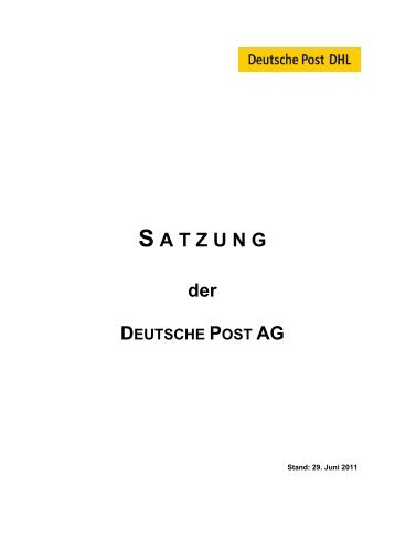 S A T Z U N G - Deutsche Post DHL