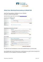 Ablauf einer eBanking-Erstanmeldung mit MobileTAN - meine VVB