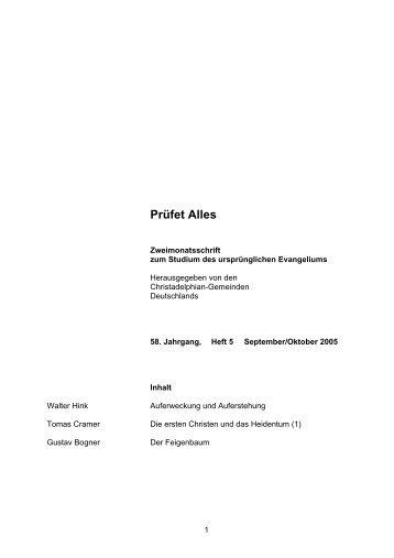 Heft 5 - Christadelphian-Gemeinden in Deutschland