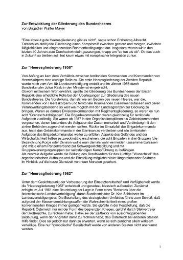 1 Zur Entwicklung der Gliederung des Bundesheeres von Brigadier ...