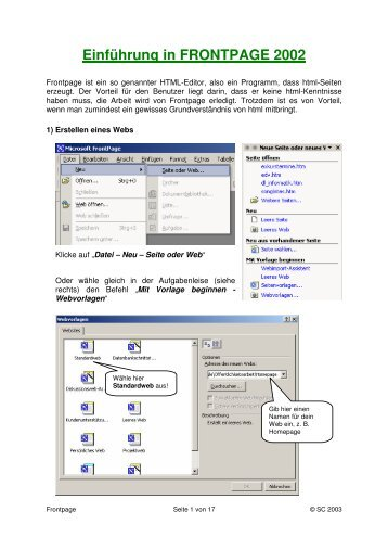 Einführung in FRONTPAGE 2002