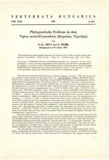 Vertebrata Hungarica 23. (Budapest, 1989)
