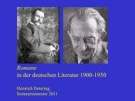 Romane 1900 bis 1950 vom 26. April 2011 - Heinrich Detering