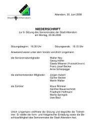 Protokoll zur 9. Sitzung am 23.06.2008 - Attendorn