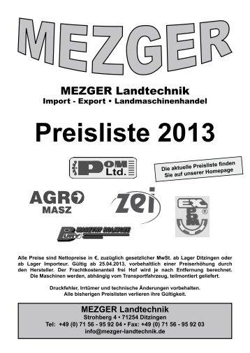 Preisliste 2013 - Mezger