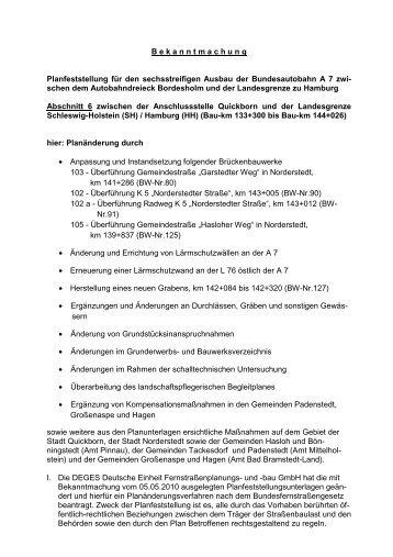 Planfeststellung für den sechsstreifigen Ausbau der ...