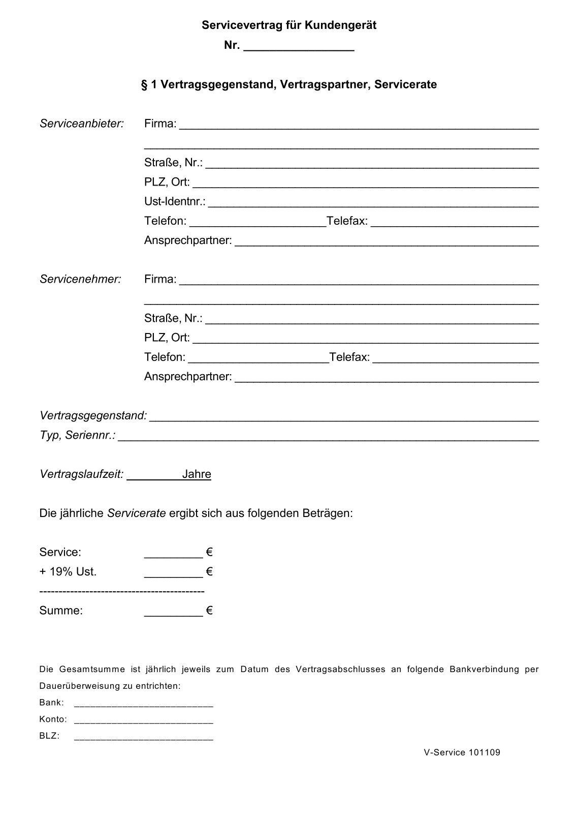 Großzügig Servicevertrag Vorlage Uk Ideen - Entry Level Resume ...