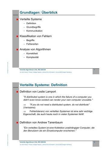 Grundlagen: Überblick Verteilte Systeme: Definition - CS 4