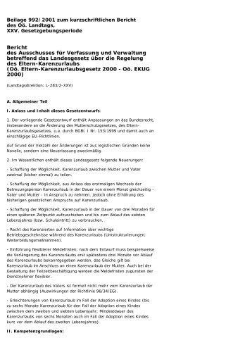 Ausschussbericht - Land Oberösterreich