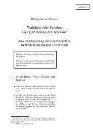 Wahrheit oder Frieden als Begründung der Toleranz - Hoye.de