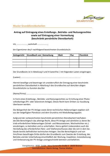 Muster Grunddienstbarkeiten Antrag Auf Eintragung Energiekontor
