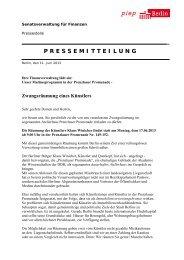 Pressemitteilung der Senatsverwaltung für Finanzen - bbk berlin eV