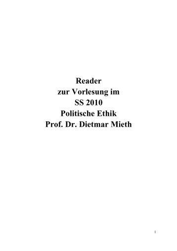 Reader zur Vorlesung im SS 2010 Politische Ethik Prof. Dr. Dietmar ...